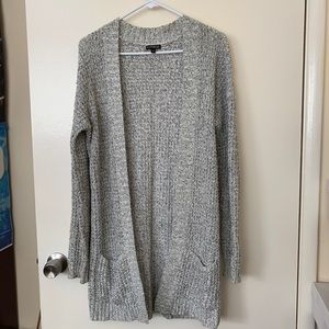 Express long cardigan open front pockets